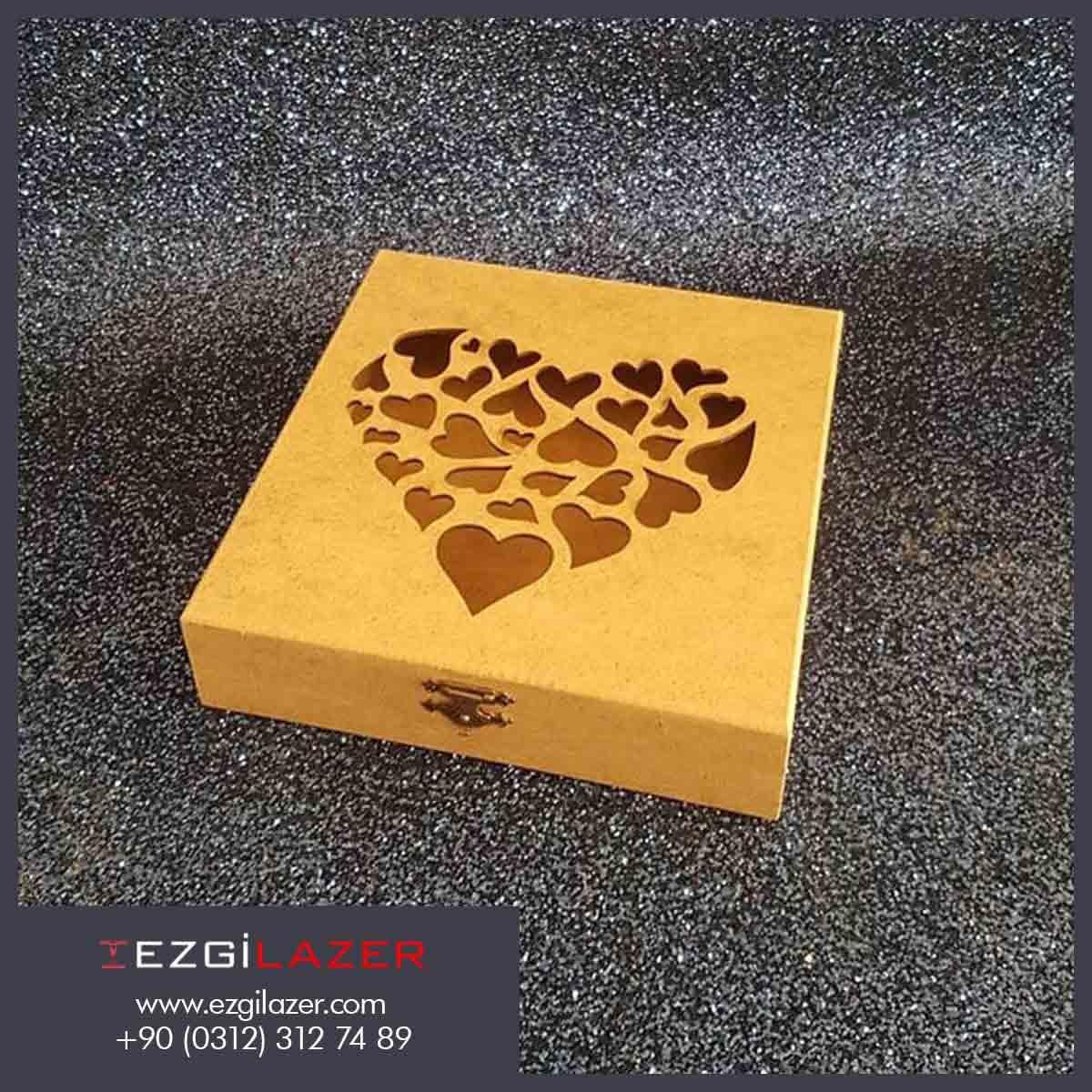 kalplı ahşap lazer kesim kutu